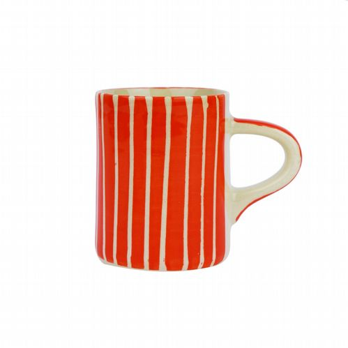 Ceramic Espresso Cup - Striped - Orange